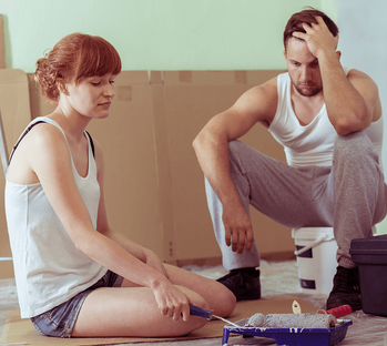 6 Reasons NOT to Renovate Your Home Unhappy Couple Image